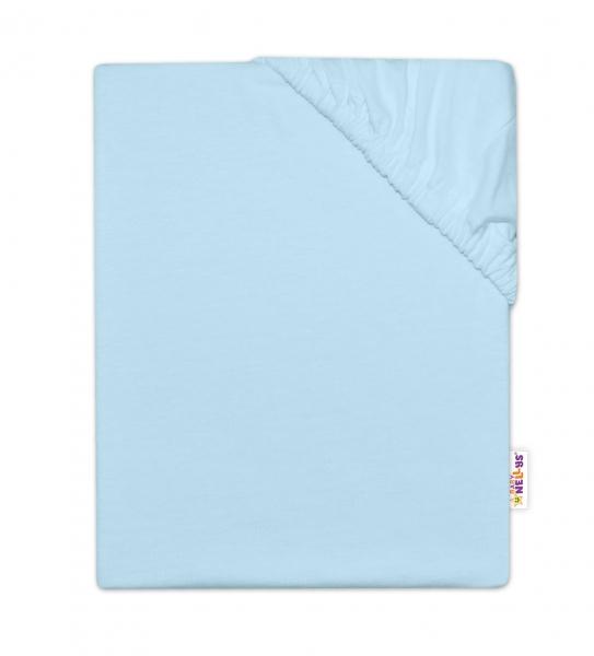 BABY NELLYS - Detská jersey plachta do postieľky - svetlo modrá, 140 x 70 cm