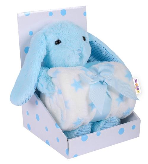 BABY NELLYS - Detská sada deka + plyšová hračka Králíček - modrá