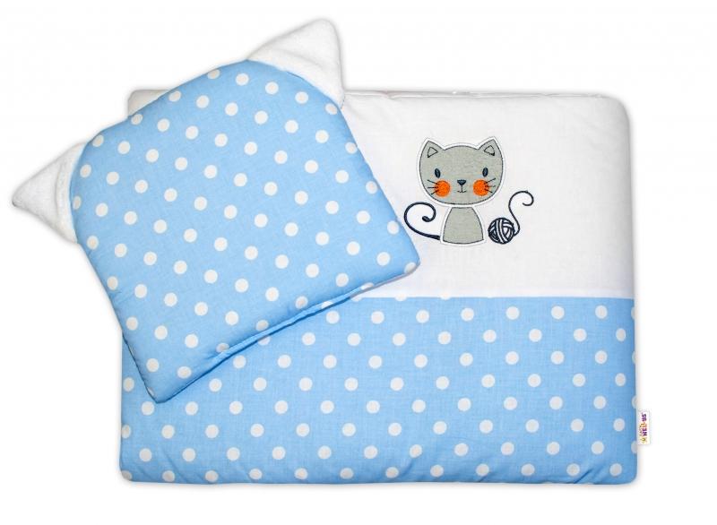 BABY NELLYS - Detská sada do kočíka ® Cat - bubble modrá