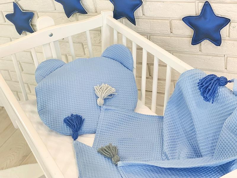 BABY NELLYS - Detská vaflová 2 dielna sada Macko - modrá