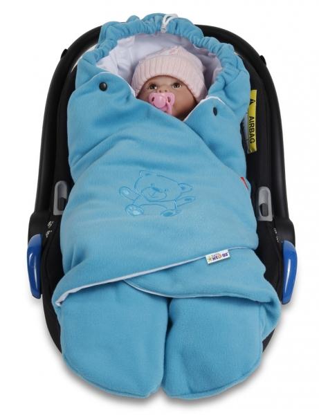 BABY NELLYS - Detská zavinovačka, fusak polar / bio bavlna - modrá