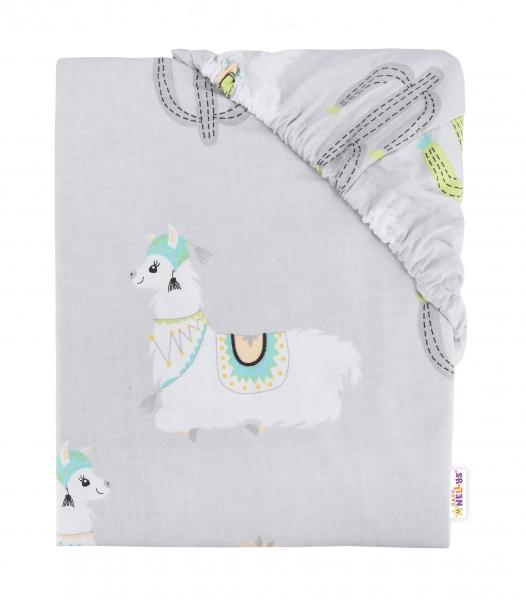 BABY NELLYS - Detské bavlnené prestieradlo do postieľky, 140x70 cm - Lama - sivé