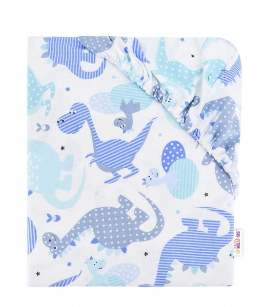 BABY NELLYS - Detské bavlnené prestieradlo do postieľky, 140x70 cm - - modré