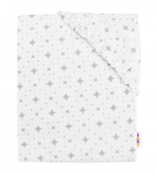 BABY NELLYS - Detské bavlnené prestieradlo do postieľky, 140x70 cm - Kárko - biele