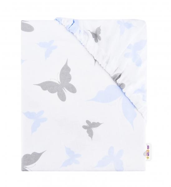 BABY NELLYS - Detské bavlnené prestieradlo do postieľky, 140x70cm - Motýliky - modré