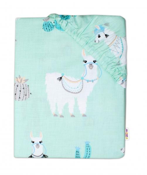 BABY NELLYS - Detské bavlnené prestieradlo do postieľky - Lama - mätové