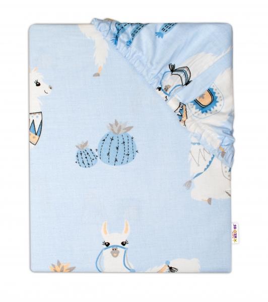 BABY NELLYS - Detské bavlnené prestieradlo do postieľky - Lama - modré