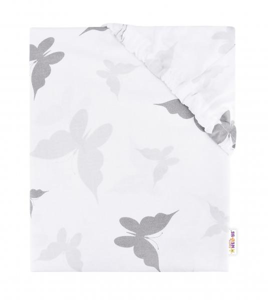 BABY NELLYS - Detské bavlnené prestieradlo do postieľky - Motýliky sivé