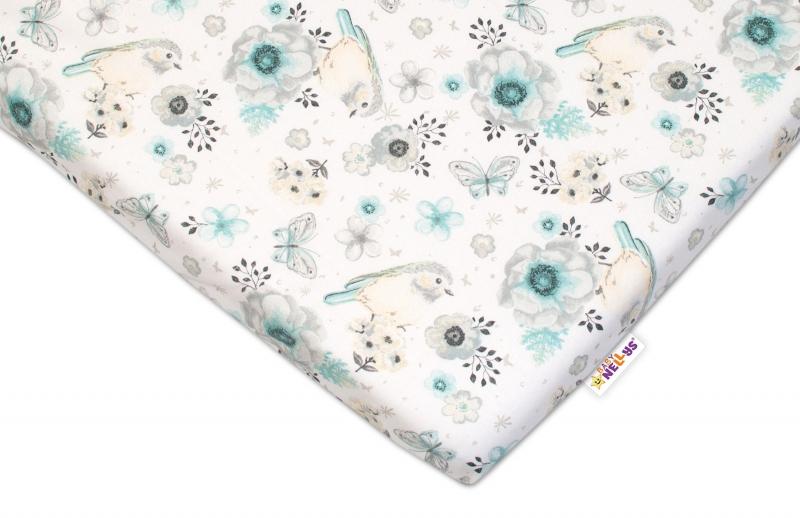 BABY NELLYS - Detské bavlnené prestieradlo do postieľky - Vtáčiki - mätová