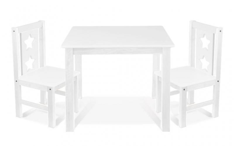 BABY NELLYS - Detský nábytok - 3 ks, stôl s stoličkami - biely, C/07