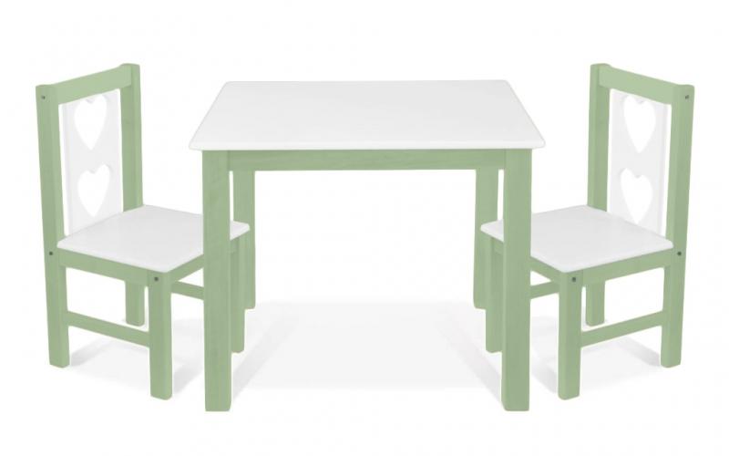 BABY NELLYS - Detský nábytok - stôl so stoličkami - zelená, biela