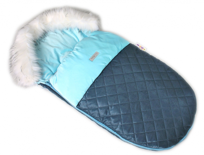 BABY NELLYS - Fusak, spacáček 105x55 Velvet exkluzív prešívaný - modrý