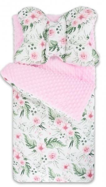 BABY NELLYS - Fusak, spacáček Minky s vankúšikom Flowers - růžový/sv. růžový