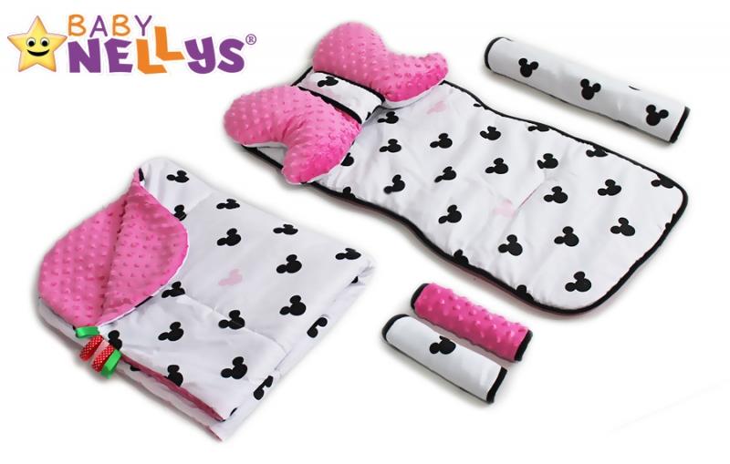 BABY NELLYS - Komplet do kočíka - podložka, polštářek, potah na popruhy a barierku č. 10 D19