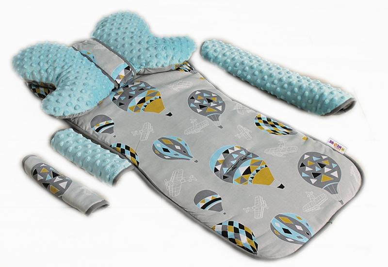 BABY NELLYS - Komplet do kočíka - podložka, polštářek, potah na popruhy a barierku č. 9 D19
