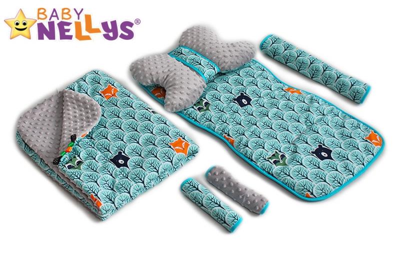BABY NELLYS - Komplet do kočíka - podložka, polštářek, potah na popruhy a barierku č. 6 D19