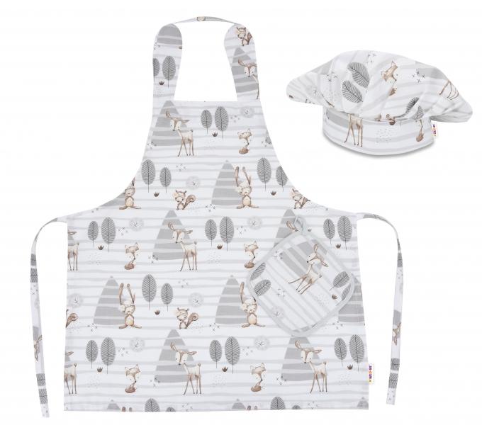 BABY NELLYS - Kuchárska sada Junior MasterChef - zástera + čiapka + rukavice, béžový - zvieratka v lese