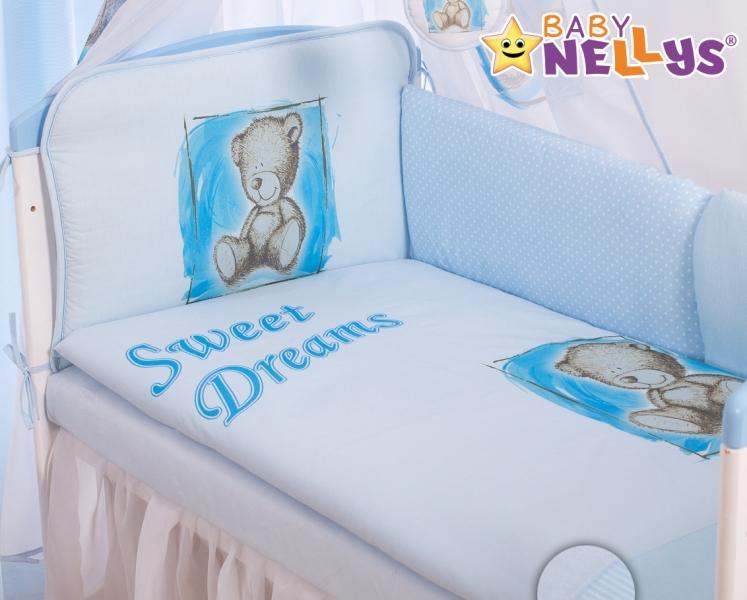 BABY NELLYS - Mantinel 360 cm s obliečkami Sweet Dreams by Teddy - modrý