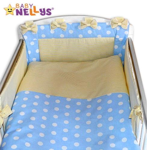 BABY NELLYS - Mantinel s obliečkami Mašlička - Bubble sv.modré / jemne béžovej prúžky