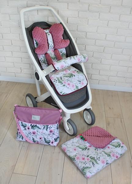 BABY NELLYS - Mega sada do kočíka s taškou na kočík - Kvetinky/flowers - vínová