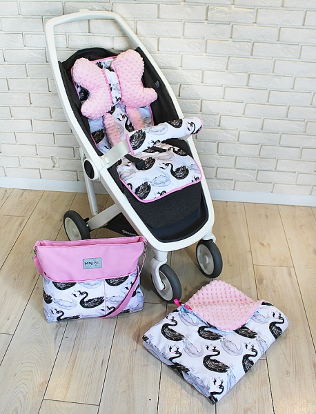 BABY NELLYS - Mega sada do kočíka s taškou na kočík - Labute - ružová