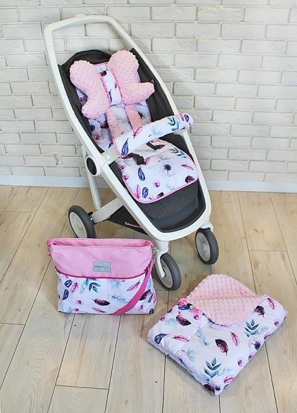 BABY NELLYS - Mega sada do kočíka s taškou na kočík - Listy - ružová