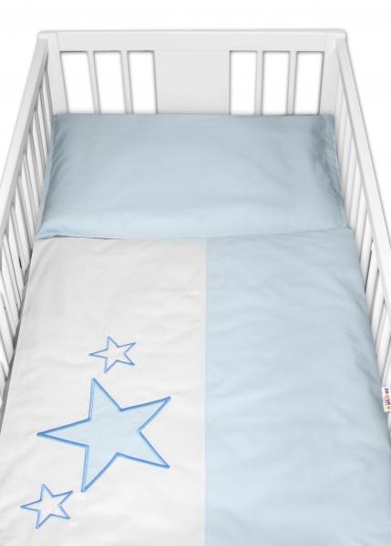 BABY NELLYS - Obliečky do postieľky Baby Stars - modré, veľkosť 135x100 cm