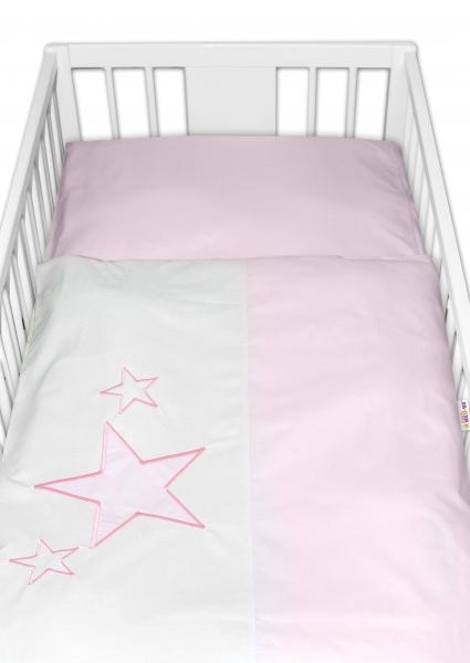 BABY NELLYS - Obliečky do postieľky Baby Stars - ružové, veľkosť 135x100 cm