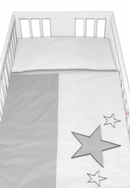 BABY NELLYS - Obliečky do postieľky Baby Stars - sivé