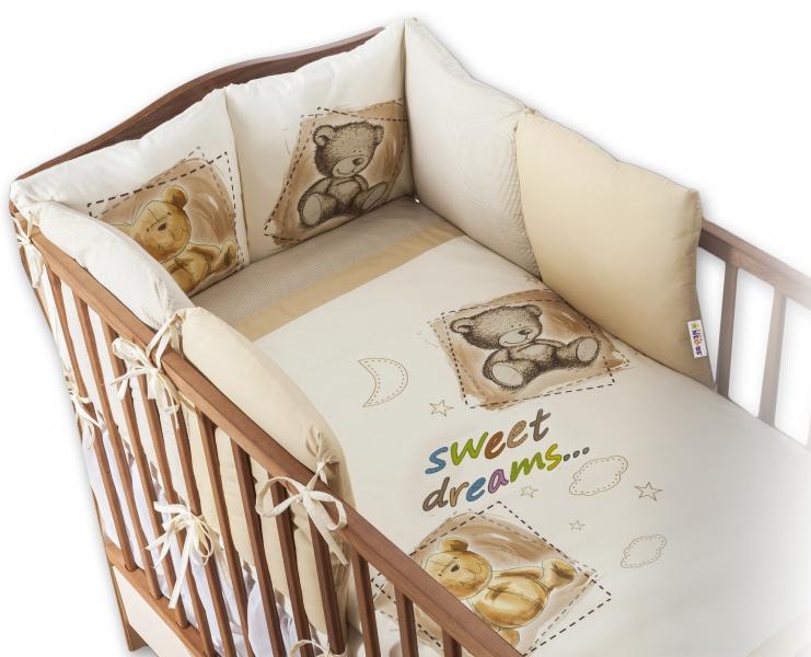 BABY NELLYS - Obliečky s vankúšikovým mantinelom Sweet Dreams by TEDDY - pískový