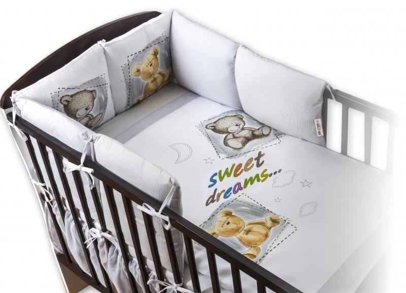 BABY NELLYS - Obliečky s vankúšikovým mantinelom Sweet Dreams by TEDDY - sivý