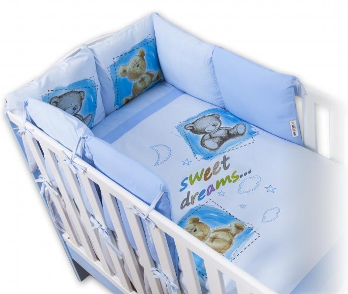 BABY NELLYS - Obliečky s vankúšikovým mantinelom Sweet Dreams by TEDDY - modrý