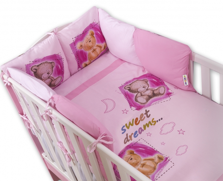 BABY NELLYS - Obliečky s vankúšikovým mantinelom Sweet Dreams by TEDDY - růžový