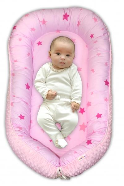 BABY NELLYS - Obojstranné hniezdočko Minky - Hvězdičky růžové, sv.růžová minky, K19