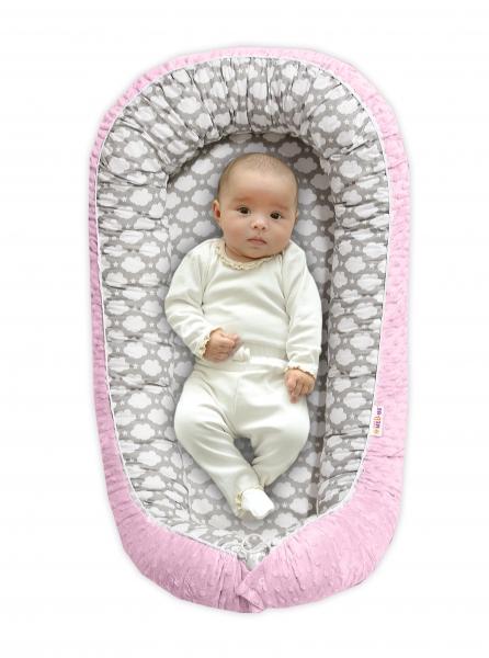 BABY NELLYS - Obojstranné hniezdočko pre bábätko Minky - Mráčik v sivej/ružová