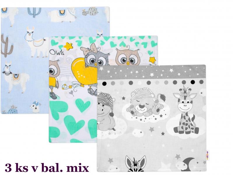 BABY NELLYS - Povlak na vankúšik sada 3ks, 40x40 cm, mix vzorov, chlapci