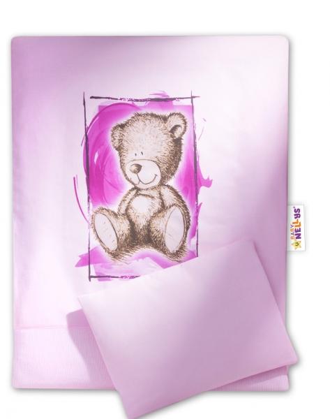BABY NELLYS - Sada do kočíka komplet 4 D Sweet Dreams by Teddy - ružový