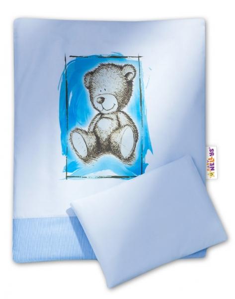 BABY NELLYS - Sada do kočíka komplet Sweet Dreams by Teddy - modrý