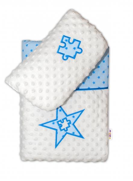 BABY NELLYS - Sada do kočíka Mini stars Mink - modrá
