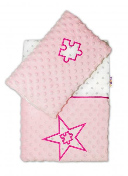 BABY NELLYS - Sada do kočíka Mini stars Minky - ružová