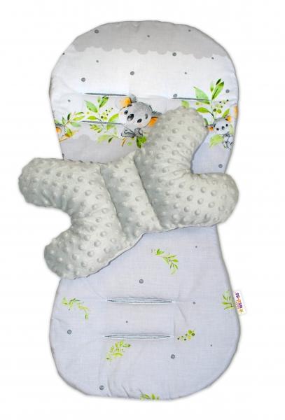 BABY NELLYS - Sada do kočíka Minky - podložka + vankúšik, Medvedík Koala - sivý