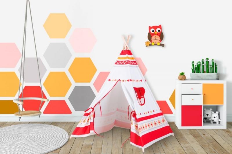 BABY NELLYS - Stan pre deti teepee, típí - biely, červený