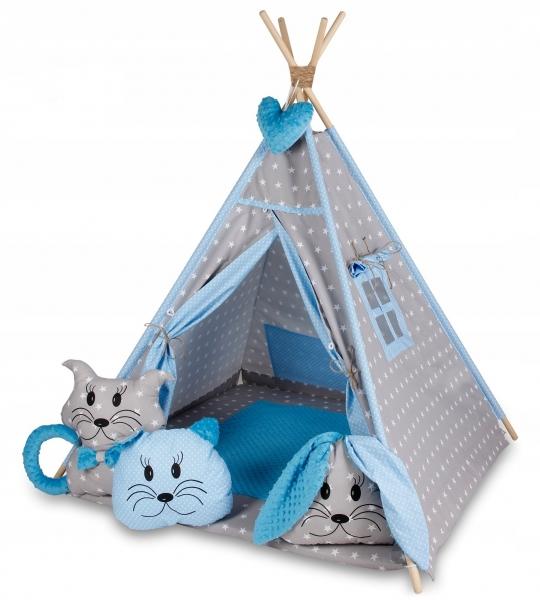 BABY NELLYS - Stan pre deti típí s veľkou výbavou - sivý, modrý