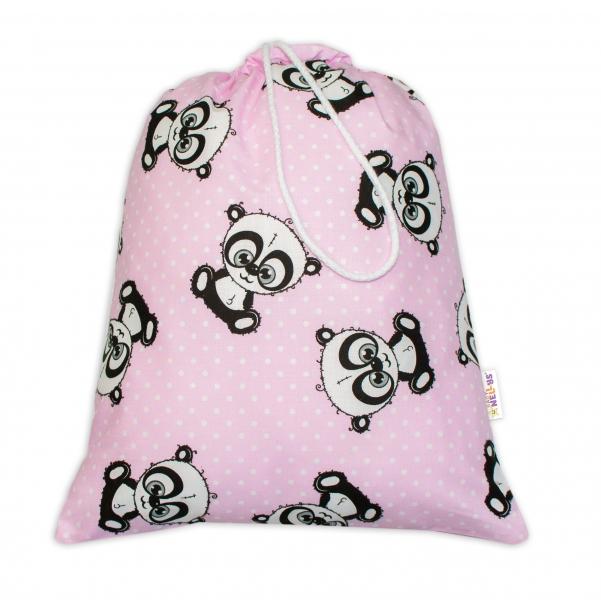 BABY NELLYS - Vrecko na prezúvky Panda - ružové
