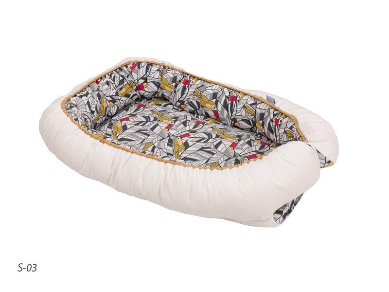 BABYMATEX - Hniezdo pre bábätko obojstranné TUCAN biele