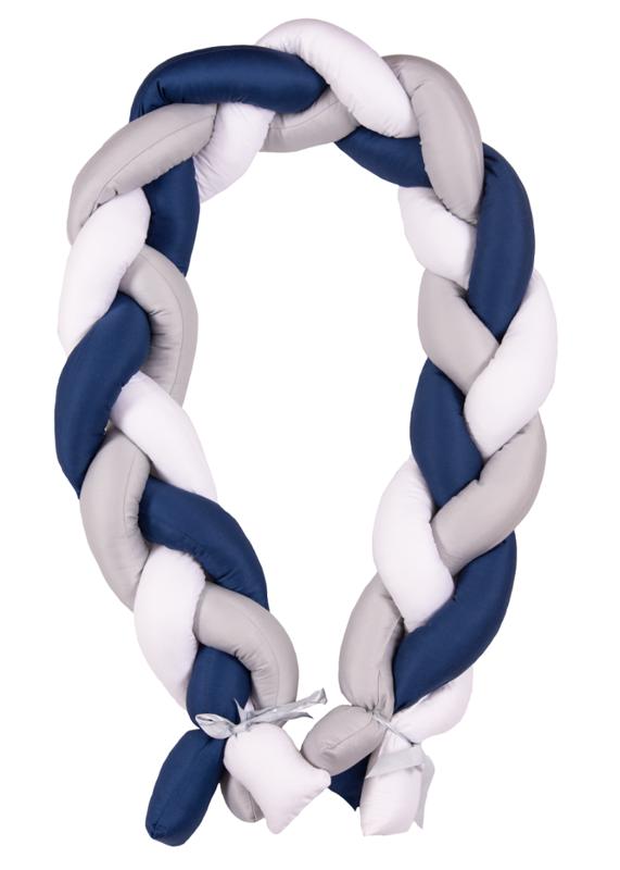 BABYMATEX - Mantinel do postieľky Vrkoč 200cm biela-sivá-modrá