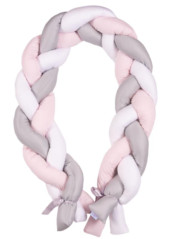 BABYMATEX - Mantinel do postieľky Vrkoč 200cm biela-sivá-ružová