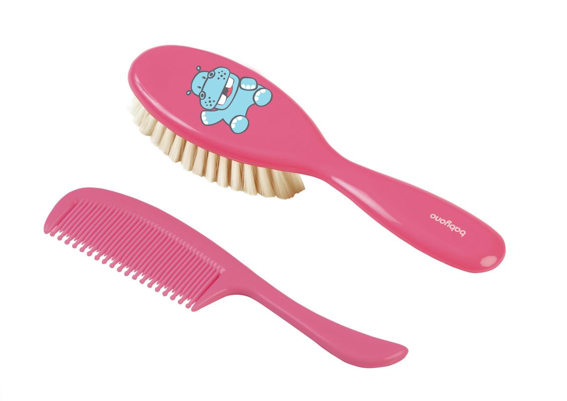 BABYONO - Kefka a hrebeň na vlasy super jemná - ružová