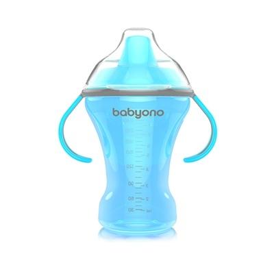 BABYONO - Nekvapkajúci hrnček s tvrdým náustkom - modrý