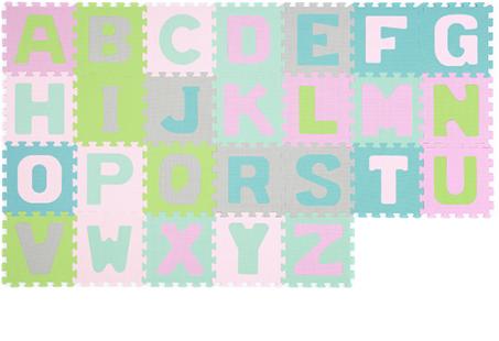 BABYONO - Penové puzzle Abeceda, 26 ks - pastelové